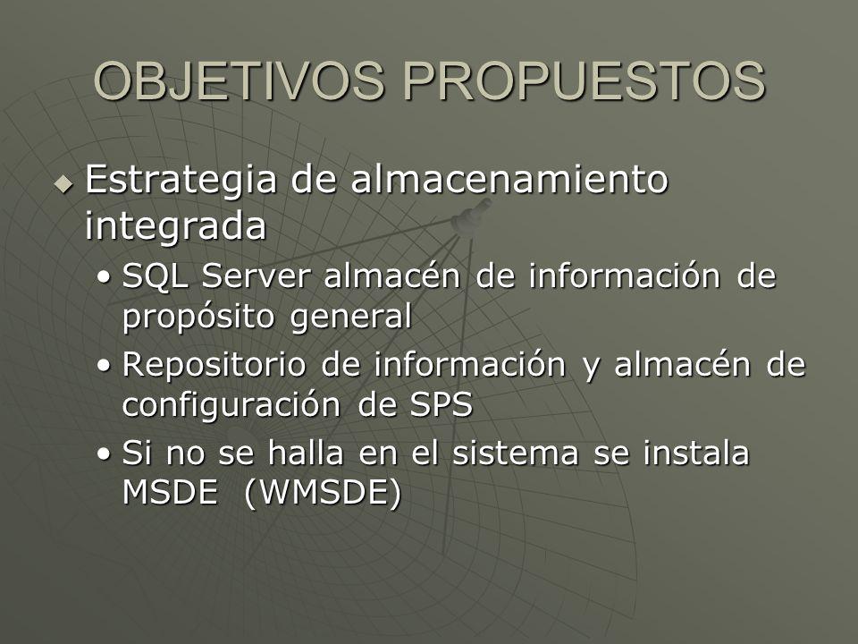 OBJETIVOS PROPUESTOS Estrategia de almacenamiento integrada