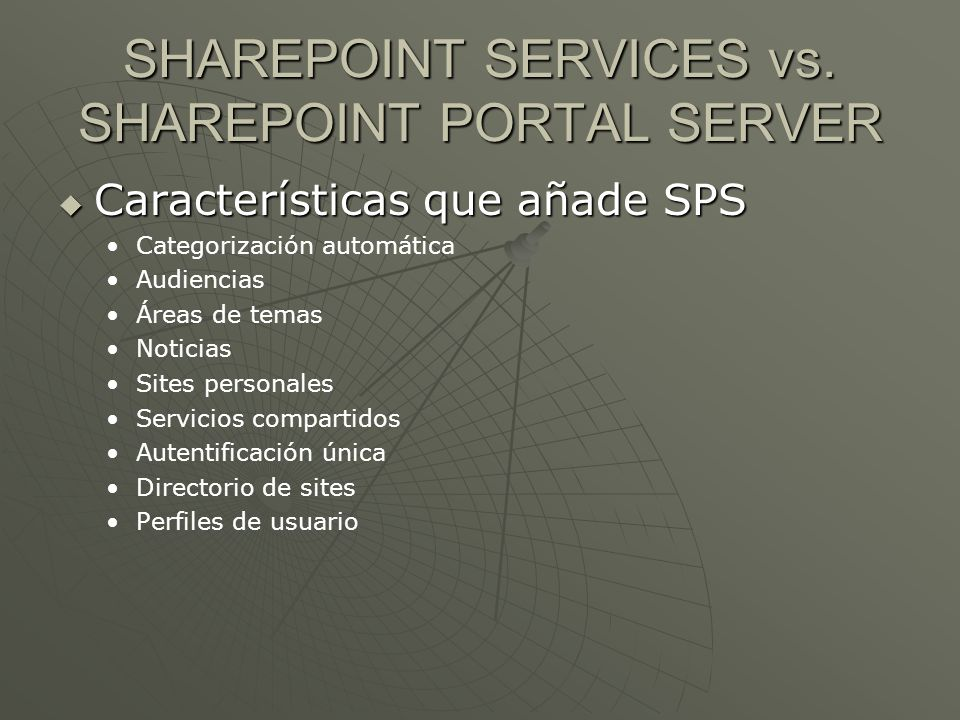 SHAREPOINT SERVICES vs. SHAREPOINT PORTAL SERVER