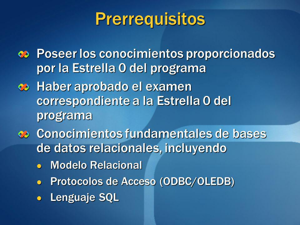 Prerrequisitos Poseer los conocimientos proporcionados por la Estrella 0 del programa.