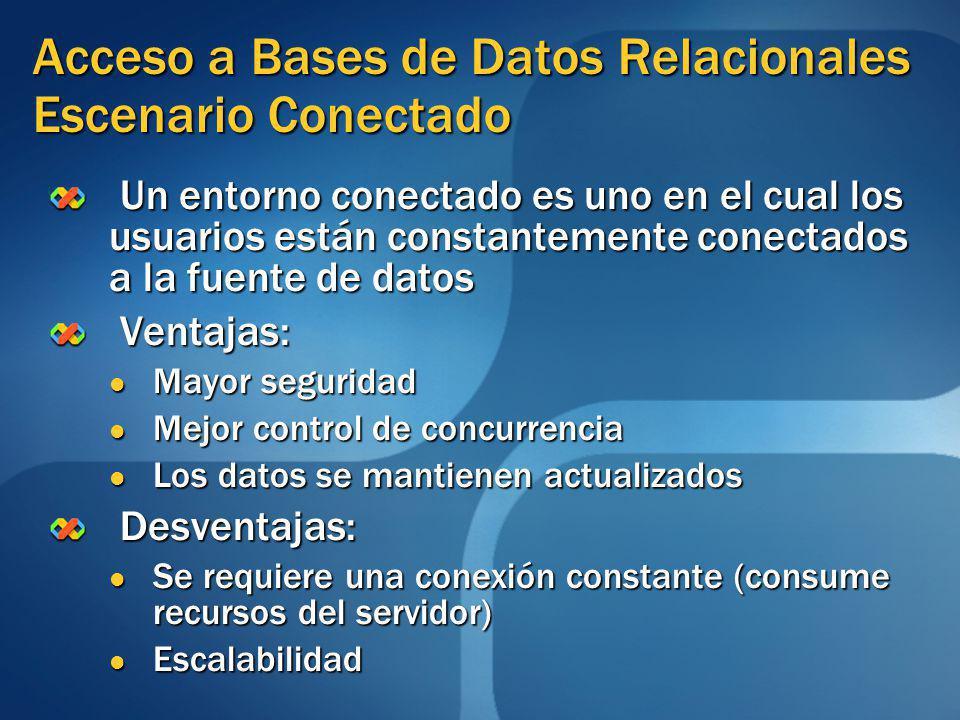 Acceso a Bases de Datos Relacionales Escenario Conectado