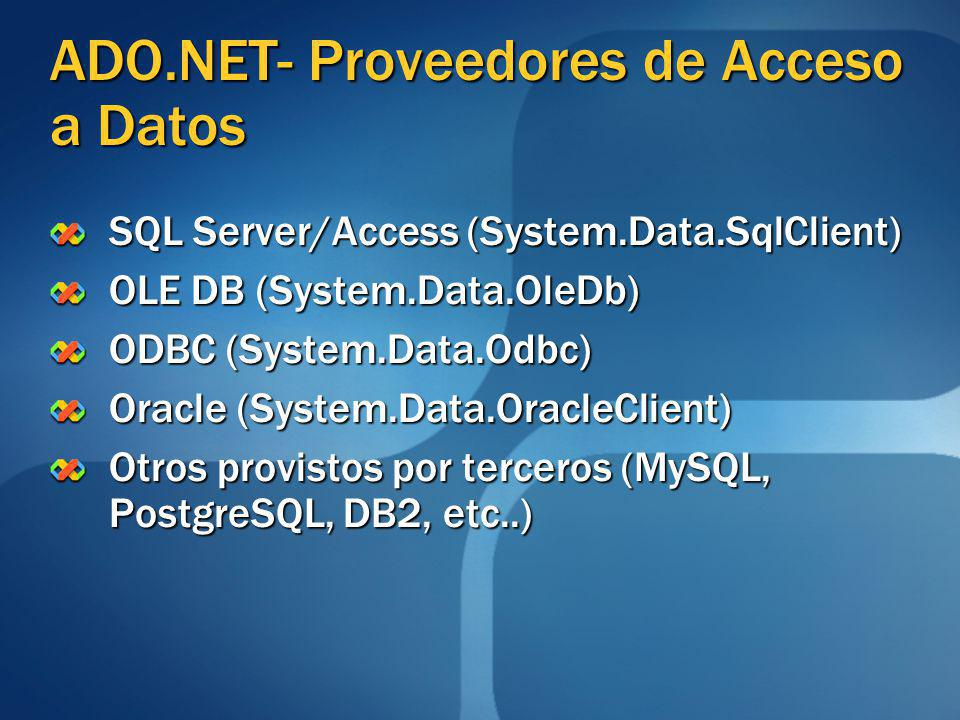 ADO.NET- Proveedores de Acceso a Datos