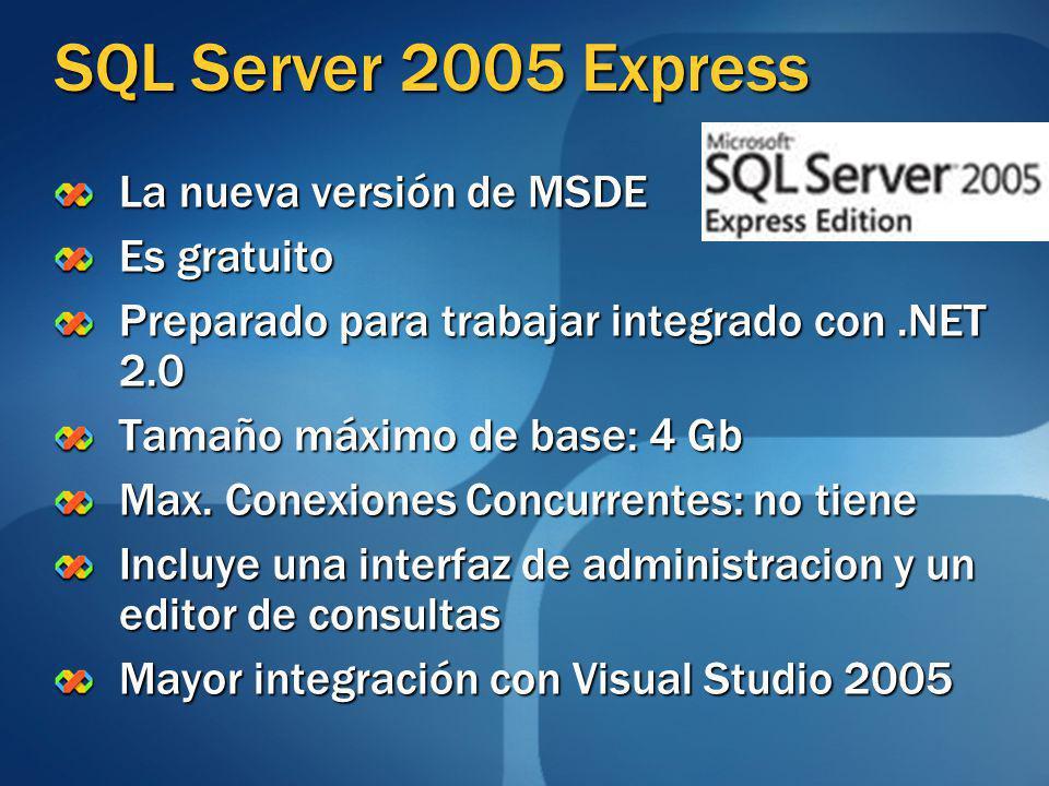 SQL Server 2005 Express La nueva versión de MSDE Es gratuito