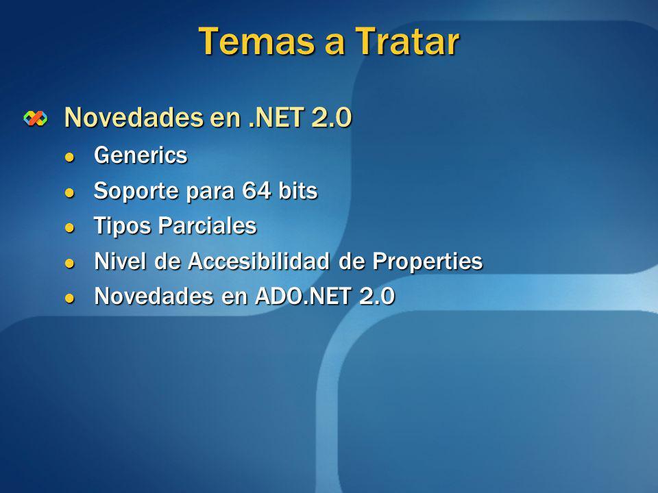 Temas a Tratar Novedades en .NET 2.0 Generics Soporte para 64 bits