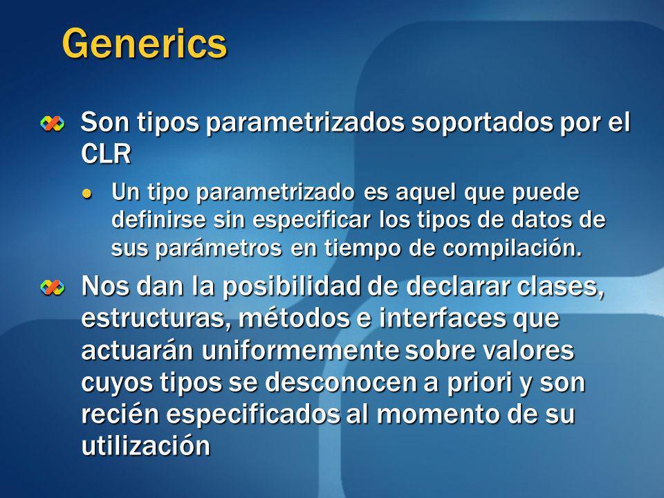 Generics Son tipos parametrizados soportados por el CLR