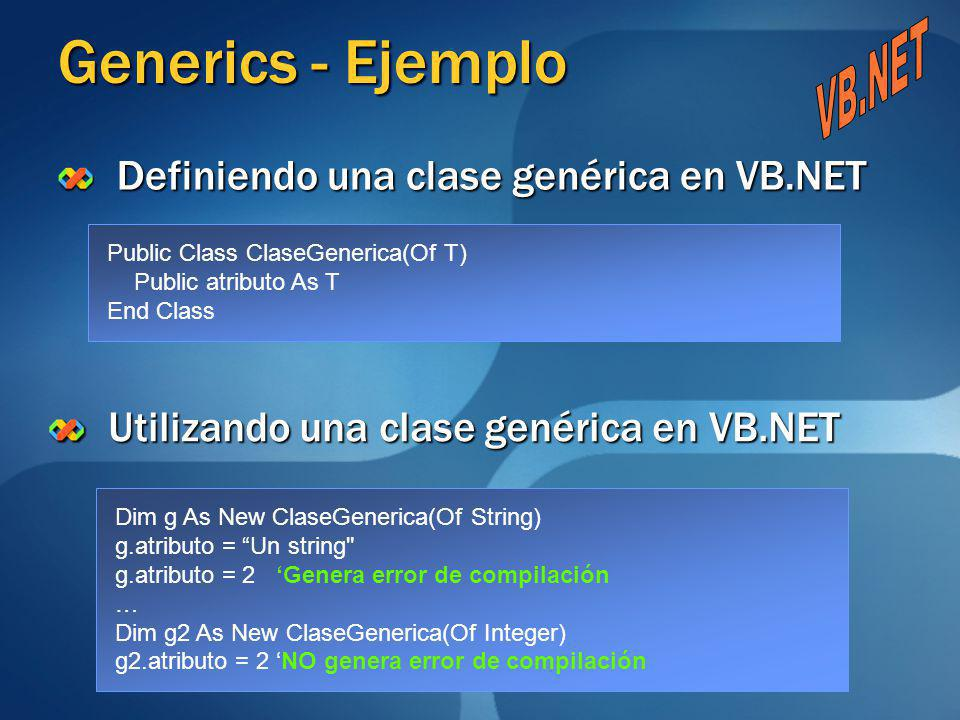 Generics - Ejemplo VB.NET Definiendo una clase genérica en VB.NET