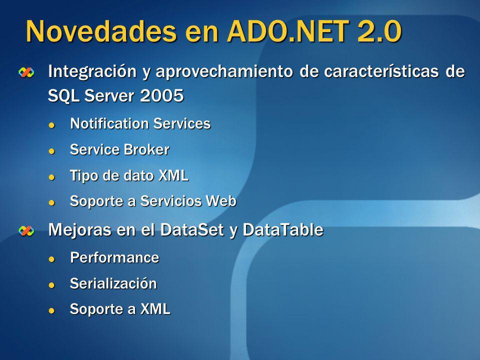 Novedades en ADO.NET 2.0 Integración y aprovechamiento de características de SQL Server 2005. Notification Services.