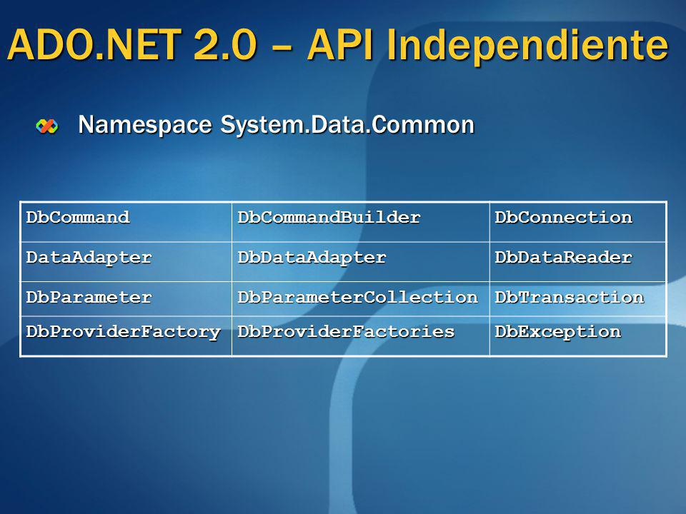 ADO.NET 2.0 – API Independiente
