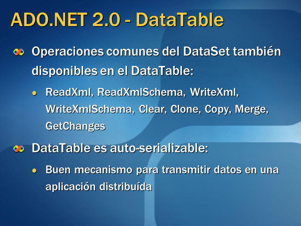 ADO.NET 2.0 - DataTable Operaciones comunes del DataSet también disponibles en el DataTable: