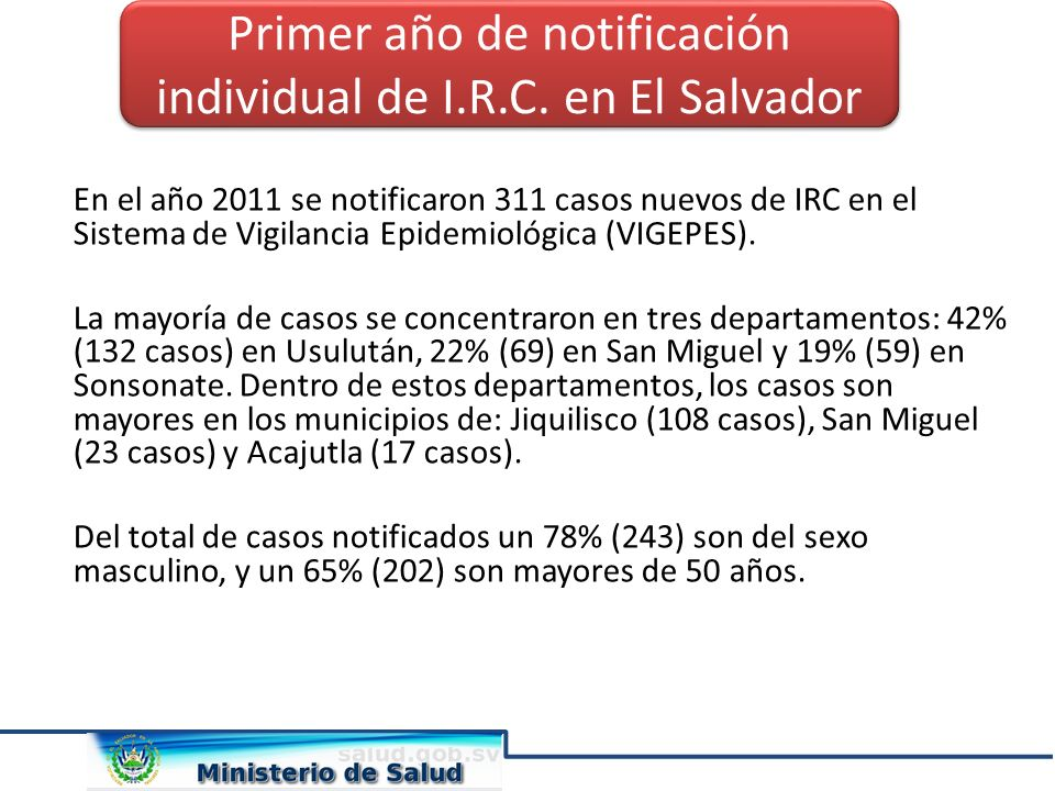 Primer año de notificación individual de I.R.C. en El Salvador
