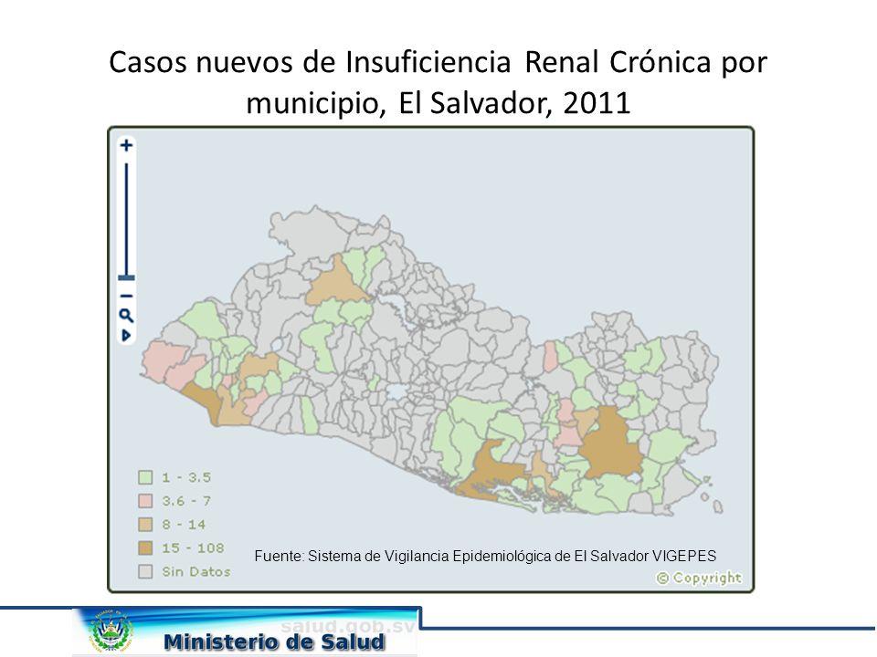 Casos nuevos de Insuficiencia Renal Crónica por municipio, El Salvador, 2011