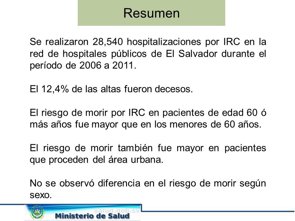 Resumen Se realizaron 28,540 hospitalizaciones por IRC en la red de hospitales públicos de El Salvador durante el período de 2006 a 2011.