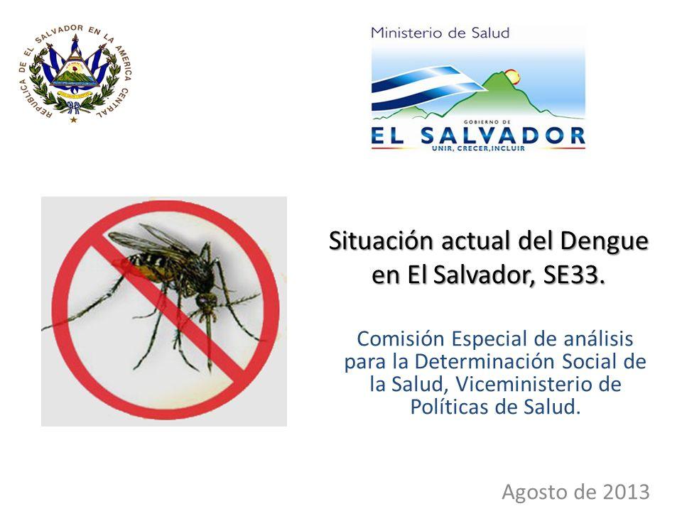 Situación actual del Dengue en El Salvador, SE33.