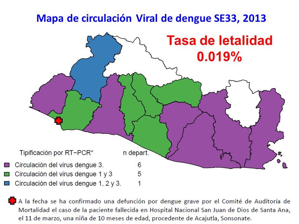 Mapa de circulación Viral de dengue SE33, 2013