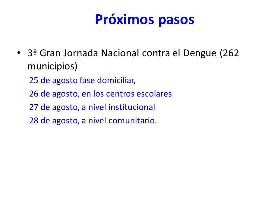 Próximos pasos3ª Gran Jornada Nacional contra el Dengue (262 municipios) 25 de agosto fase domiciliar,