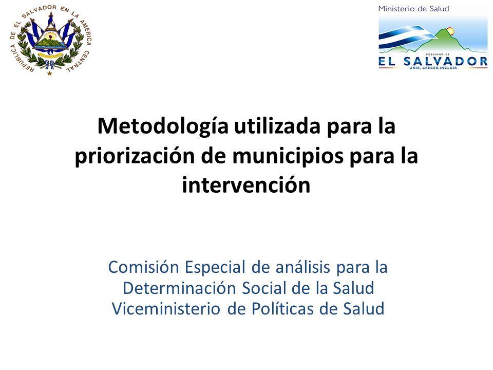 Metodología utilizada para la priorización de municipios para la intervención
