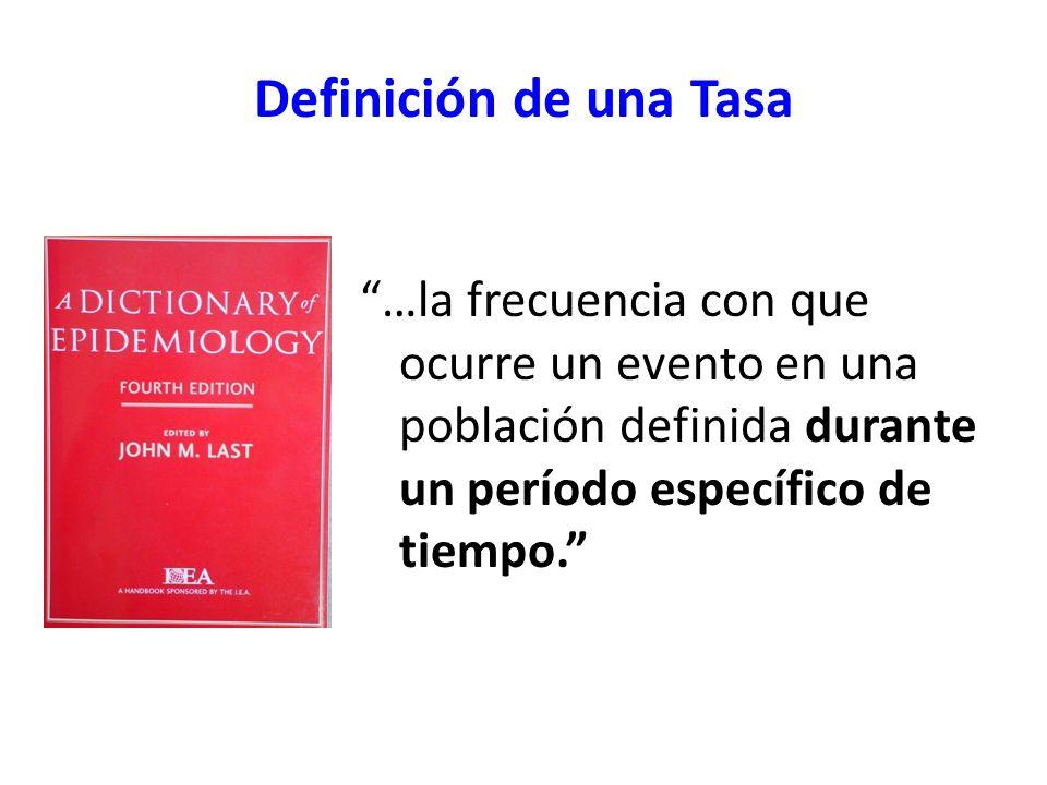 Definición de una Tasa …la frecuencia con que ocurre un evento en una población definida durante un período específico de tiempo.