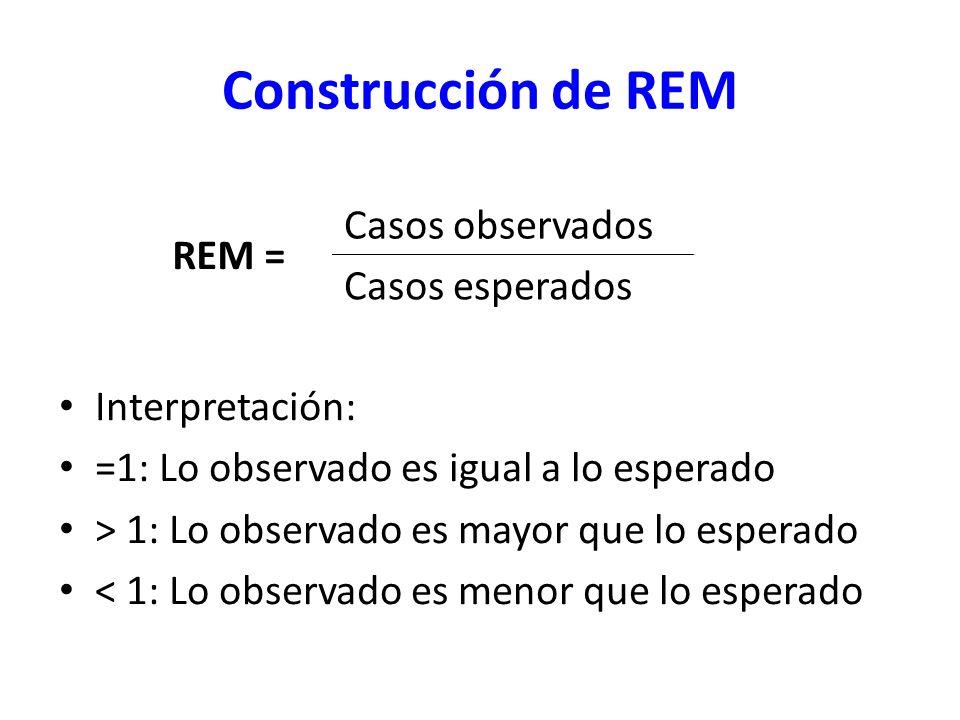 Construcción de REM REM = Casos observados Casos esperados