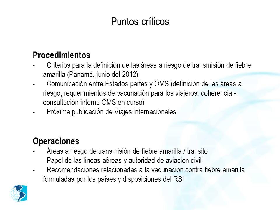 Puntos críticos Procedimientos Operaciones