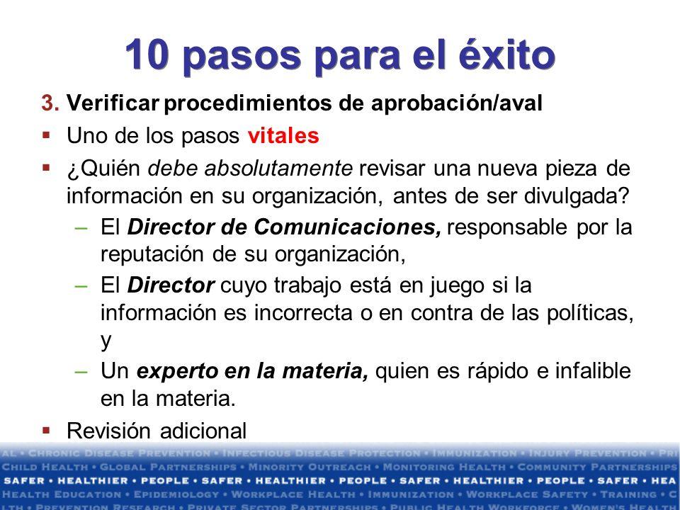 10 pasos para el éxito Verificar procedimientos de aprobación/aval