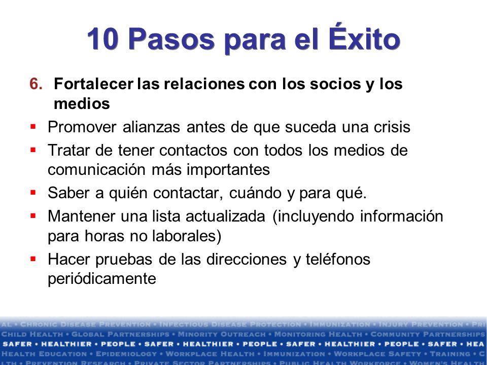 10 Pasos para el Éxito Fortalecer las relaciones con los socios y los medios. Promover alianzas antes de que suceda una crisis.
