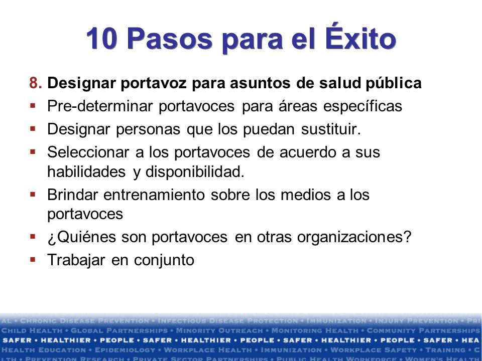10 Pasos para el Éxito Designar portavoz para asuntos de salud pública
