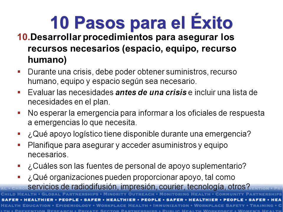 10 Pasos para el Éxito Desarrollar procedimientos para asegurar los recursos necesarios (espacio, equipo, recurso humano)