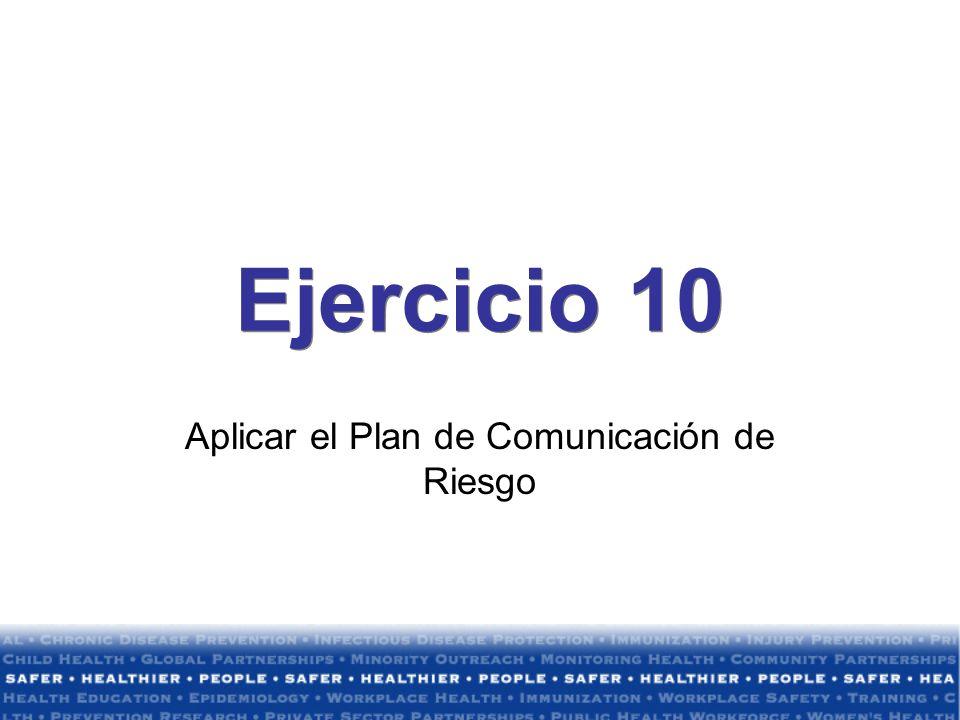 Aplicar el Plan de Comunicación de Riesgo