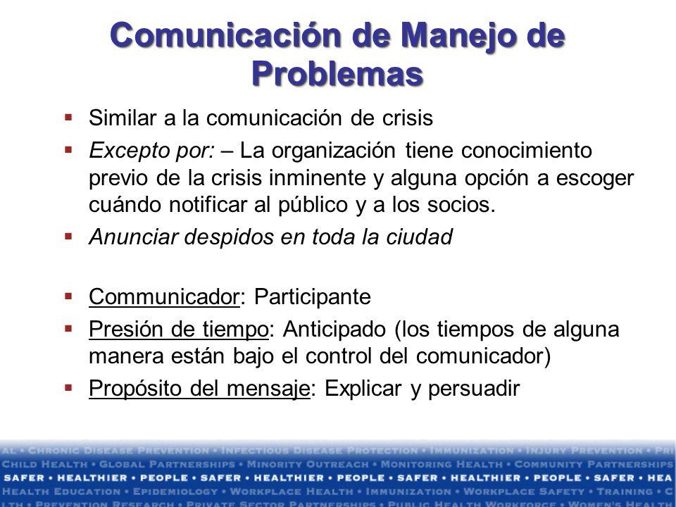 Comunicación de Manejo de Problemas