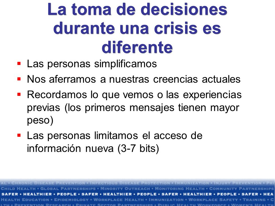 La toma de decisiones durante una crisis es diferente