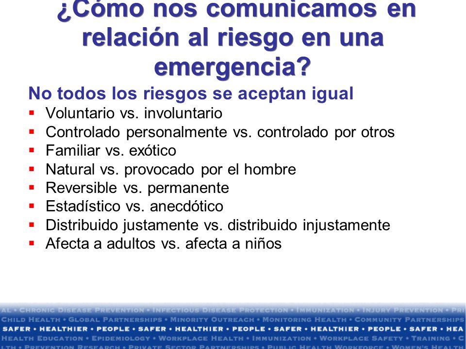 ¿Cómo nos comunicamos en relación al riesgo en una emergencia