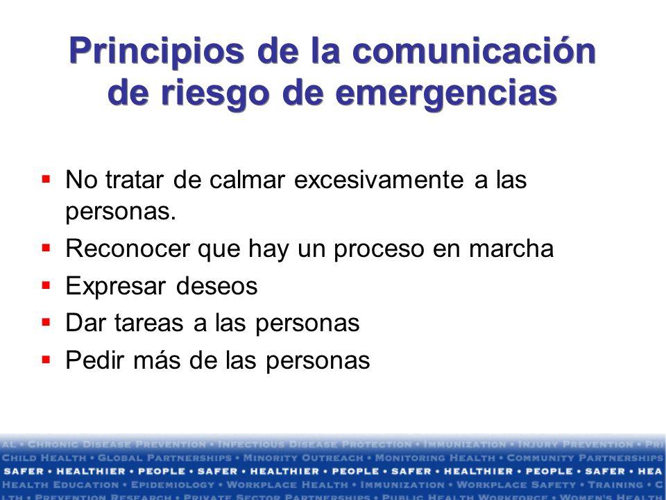 Principios de la comunicación de riesgo de emergencias