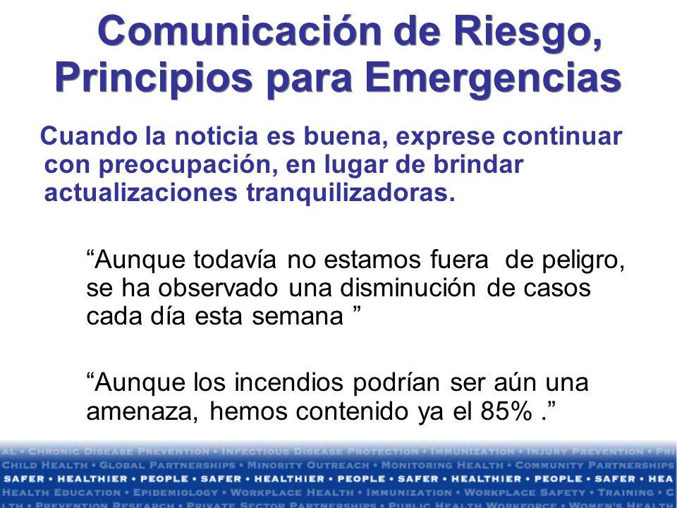 Comunicación de Riesgo, Principios para Emergencias
