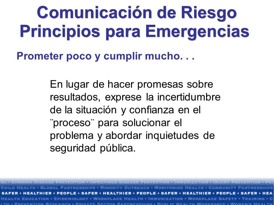 Comunicación de Riesgo Principios para Emergencias