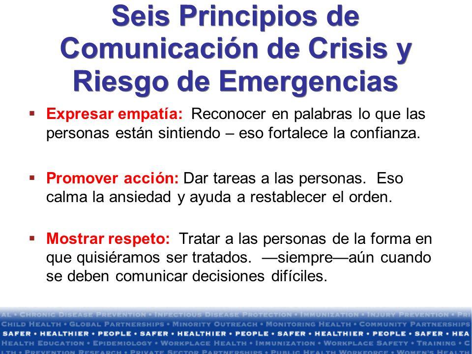 Seis Principios de Comunicación de Crisis y Riesgo de Emergencias