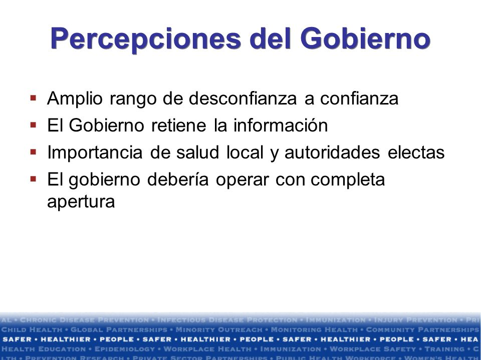 Percepciones del Gobierno
