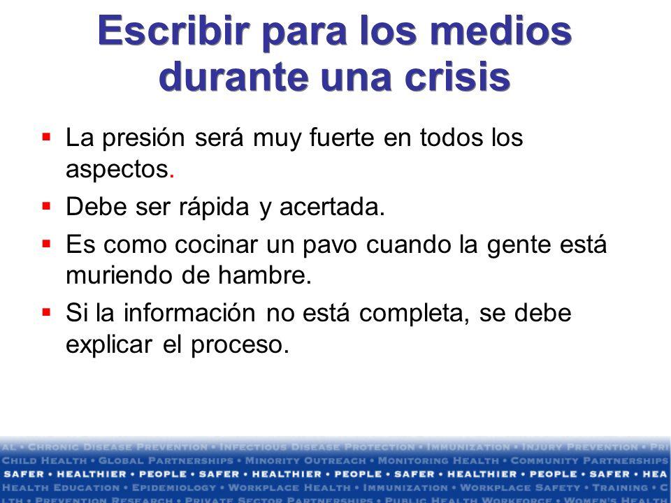 Escribir para los medios durante una crisis