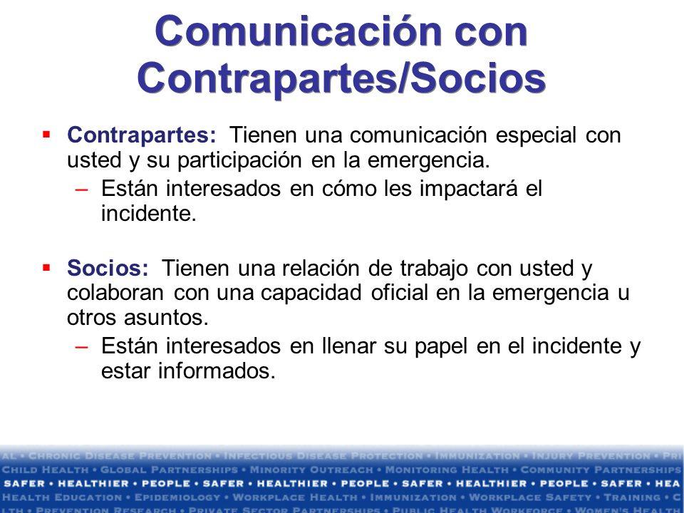 Comunicación con Contrapartes/Socios