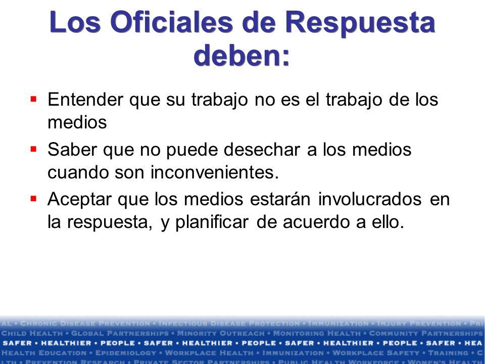 Los Oficiales de Respuesta deben: