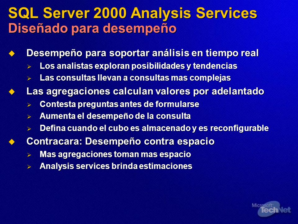 SQL Server 2000 Analysis Services Diseñado para desempeño