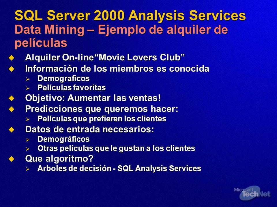 SQL Server 2000 Analysis Services Data Mining – Ejemplo de alquiler de películas