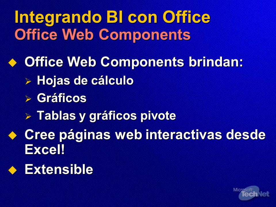 Integrando BI con Office Office Web Components