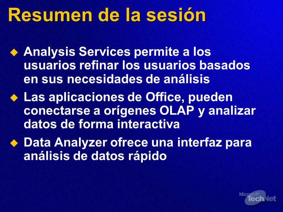 Resumen de la sesión Analysis Services permite a los usuarios refinar los usuarios basados en sus necesidades de análisis.