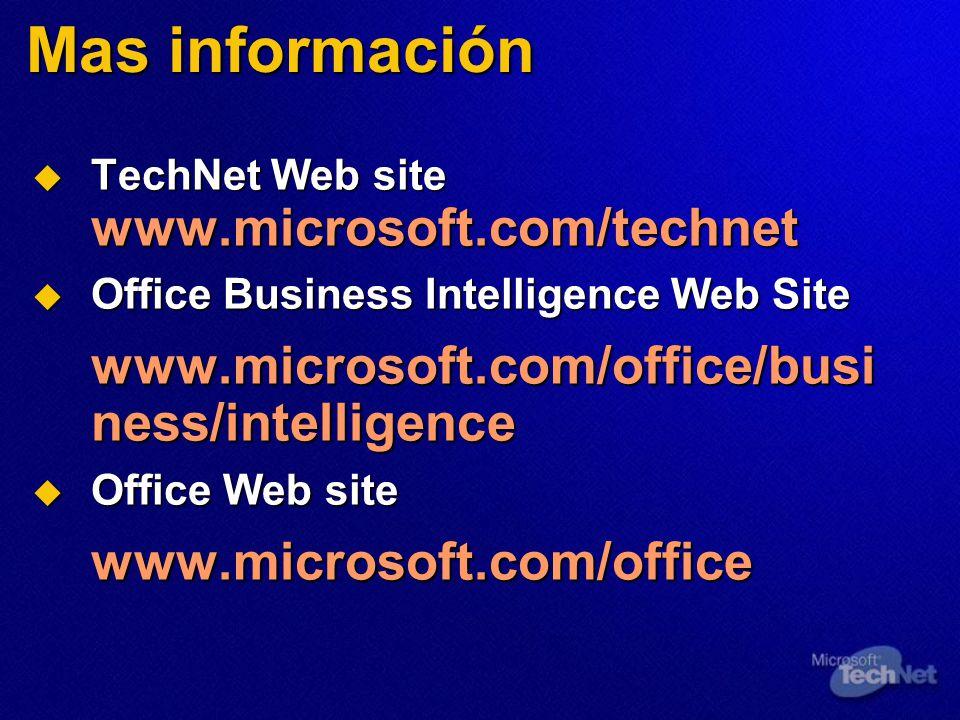 Mas información www.microsoft.com/office/business/intelligence