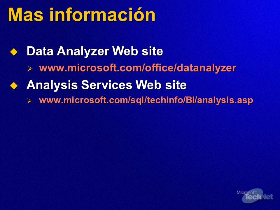Mas información Data Analyzer Web site Analysis Services Web site