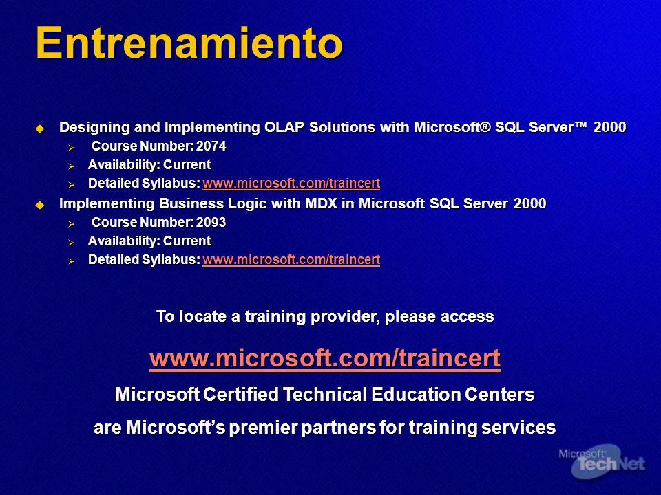 Entrenamiento www.microsoft.com/traincert