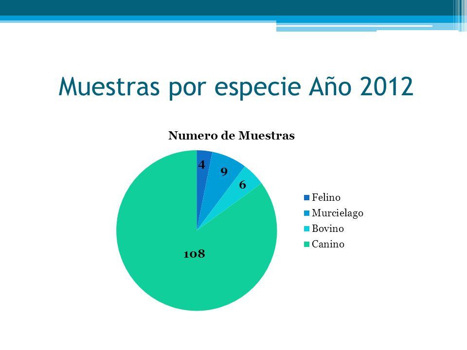 Muestras por especie Año 2012
