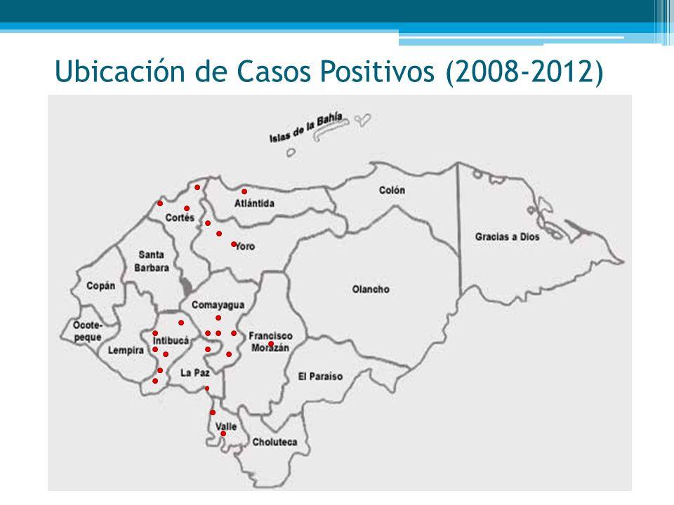 Ubicación de Casos Positivos (2008-2012)