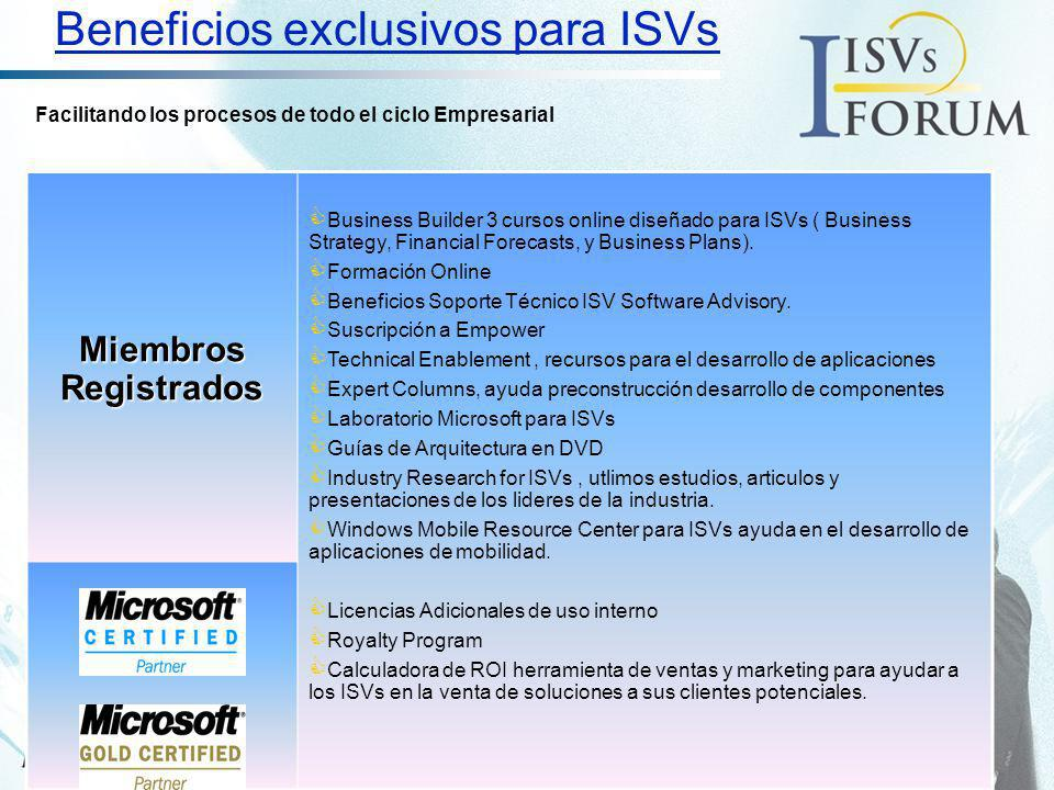 Beneficios exclusivos para ISVs