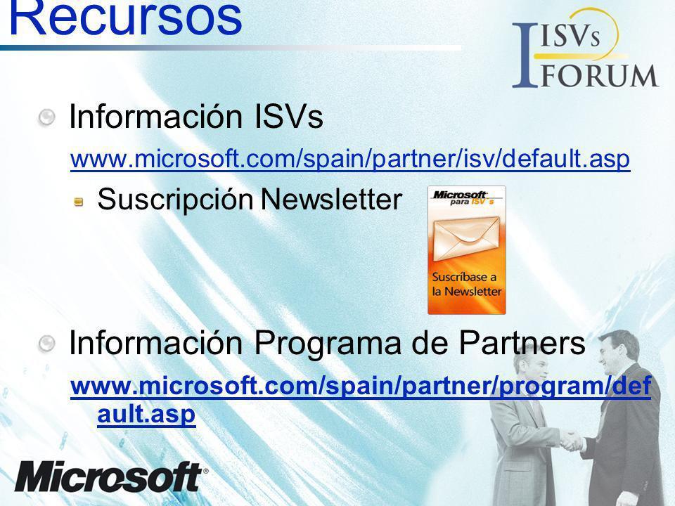 Recursos Información ISVs Información Programa de Partners