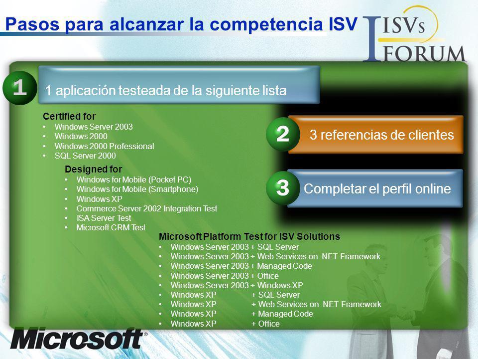 Pasos para alcanzar la competencia ISV
